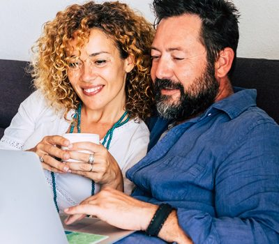 Older couple looking for sexual enhancement products on the internet together